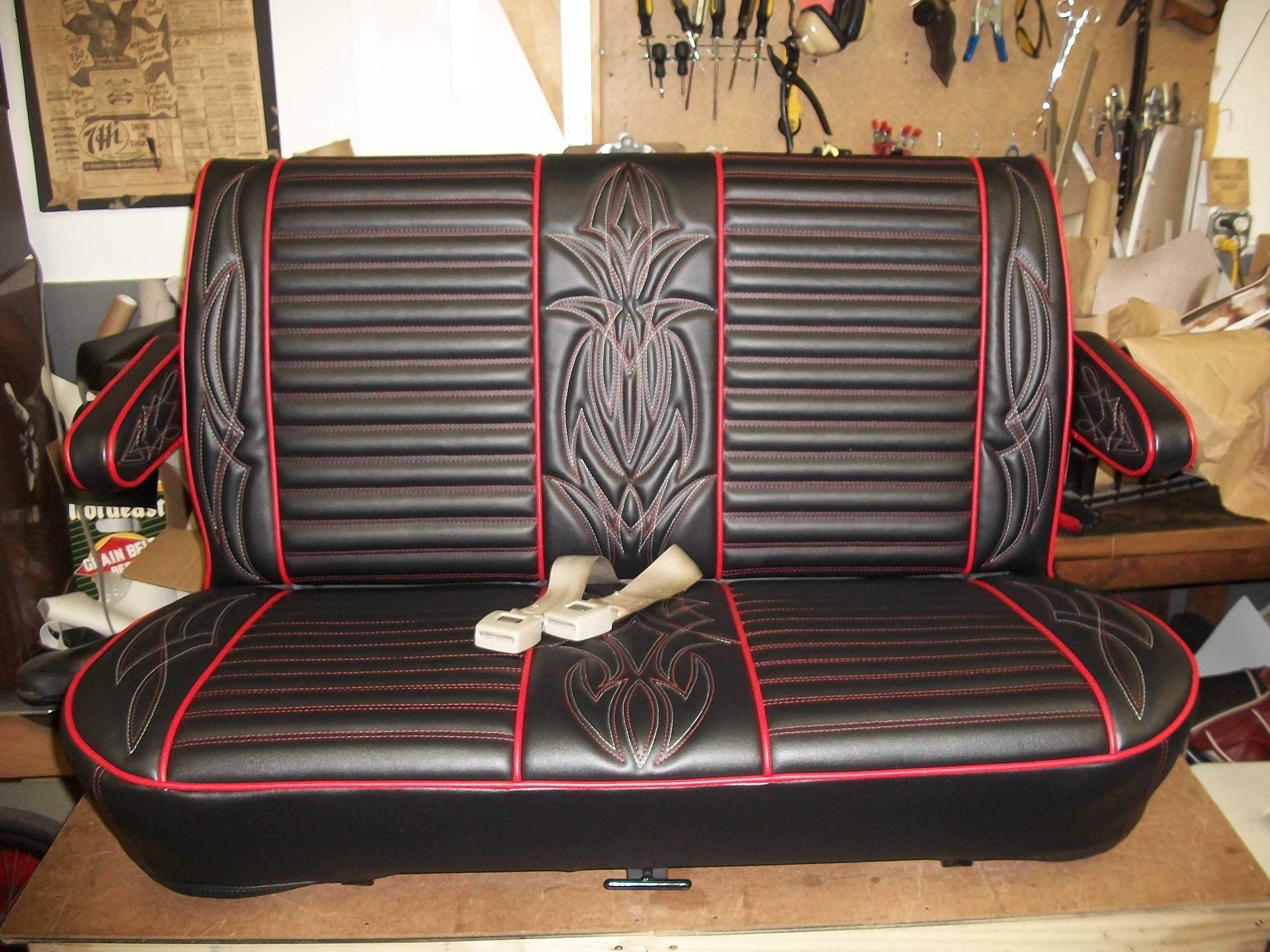 Hot Rod Seat Redo In Black And Red Vinyl Lux