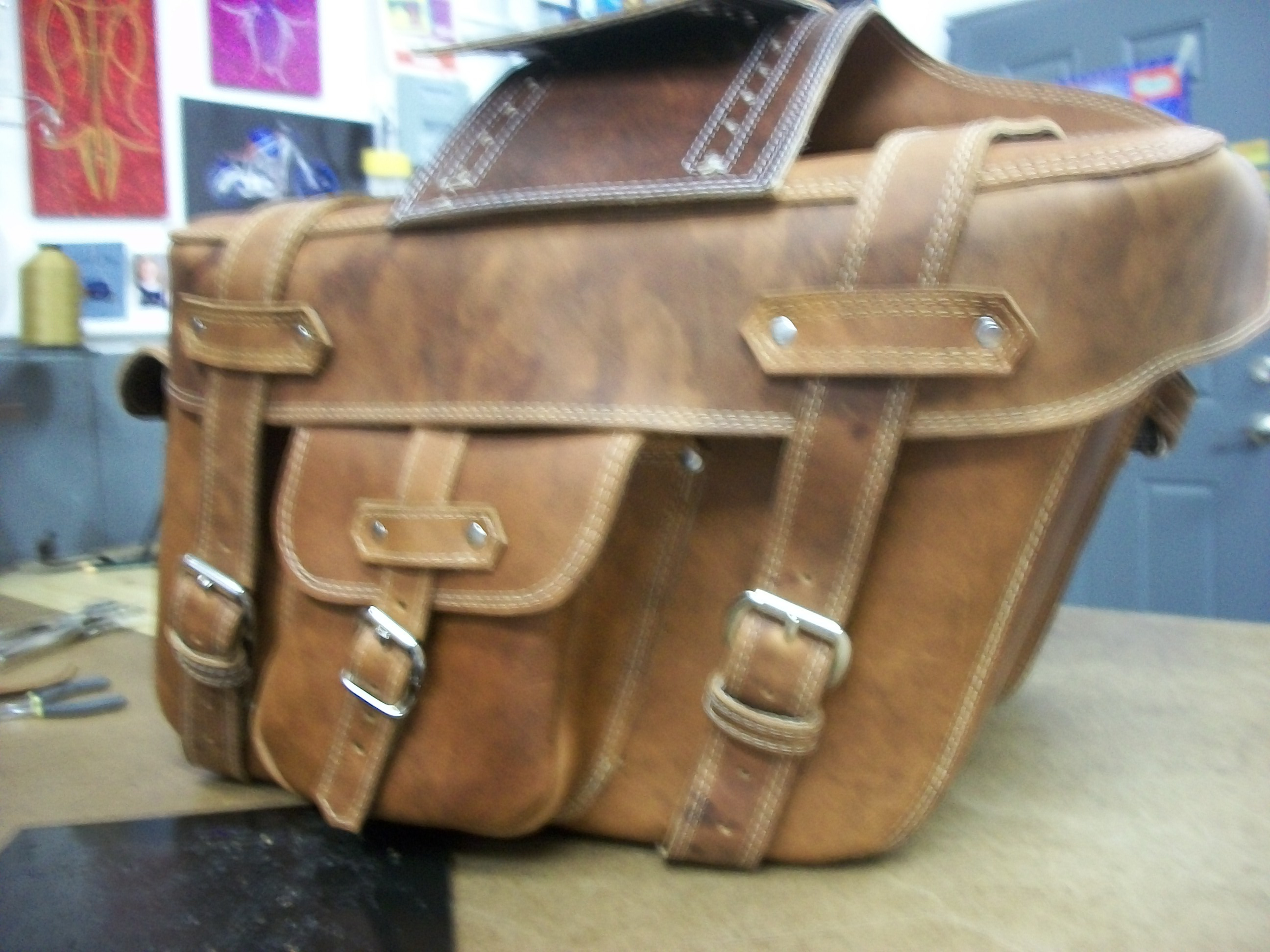 Deluxe leather harley bags
